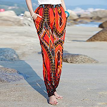 dba02d745c GAOLIM Summer Thin Section Cotton Silk Beach Pants Women Loose Large Size  Cotton Silk Yoga Pants, L, Cotton Silk Material 1548 Red Flowers:  Amazon.co.uk: ...