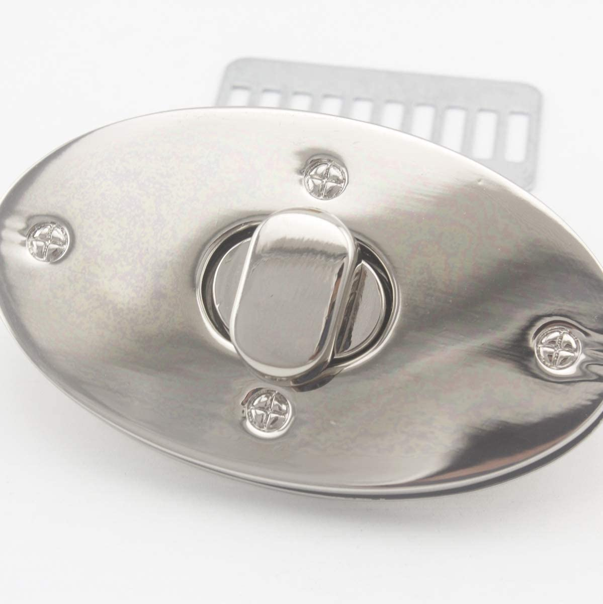 Nickel 6.7cm x 3.9cm Oval Shape Zinc Alloy Twist Lock Turn Lock Purse Lock for Handbag Purse Bag Making 1 Set per lot E65