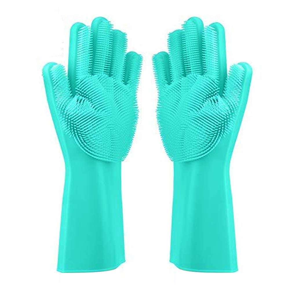 BeRicham Multifunctional Magic Silicone Gloves with Wash Scrubber Perfect as Kitchen Tool for Cleaning, Household, Dish Washing, Car Washing, Pet Hair Care, Heat Resistant Good as Oven Gloves (Green)