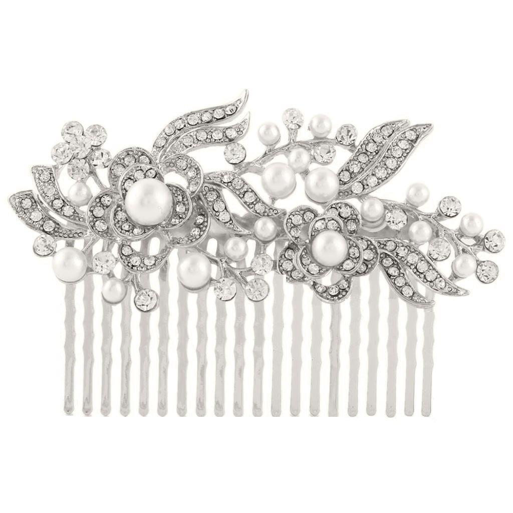Lanzy Women's Clear Austrian Crystal Ivory Color Simulatd Pearl Flower Leaf Bridal Hair Comb Silver Tone