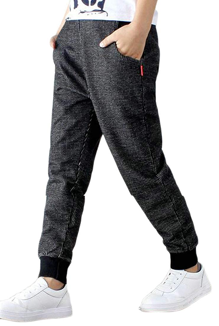 Bigbarry Big Boys Stretchy Knitted Sweatpant Sport Casual Long Jogger Pants