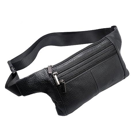 36ae0548ef8 Vidlea Triple Pocket Fanny Pack Genuine Leather Waist Bag Slim Shoulder Bag  Hip Purse Adjustable Belt Strap Casual Pouch Outdoor Day Bag (Black)