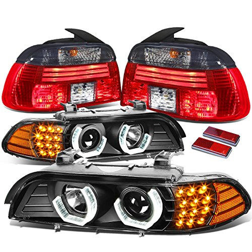 E39 5 Series Led Tail (BMW E39 5-Series Pair of Black Housing 3D Halo Projector + LED Turn Signal + Smoked Lens Tail Lights)