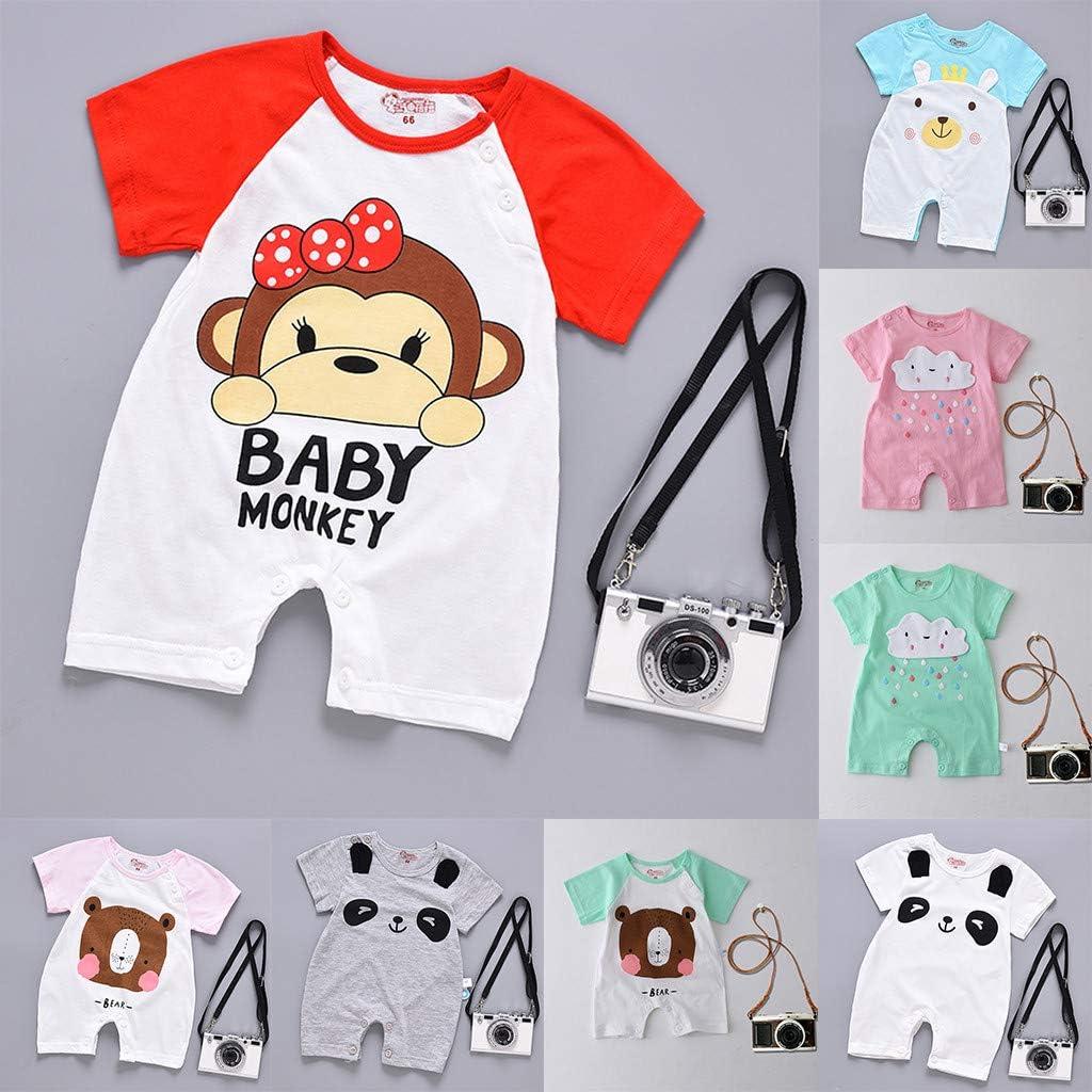 H.eternal Baby Boys Bodysuit,Short Sleeve Cartoon Romper Baby Jumpsuit Cotton Baby Grow Summer Playsuit Lovely Outfit Onesies Sleepwear