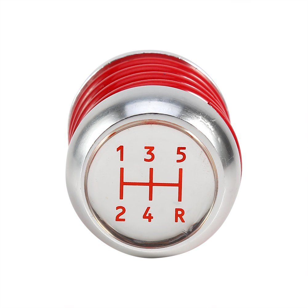 Qiilu Universal 5 Speed Manual Car Gear Shifter Stick Shift Knob Lever Aluminum Spring Red