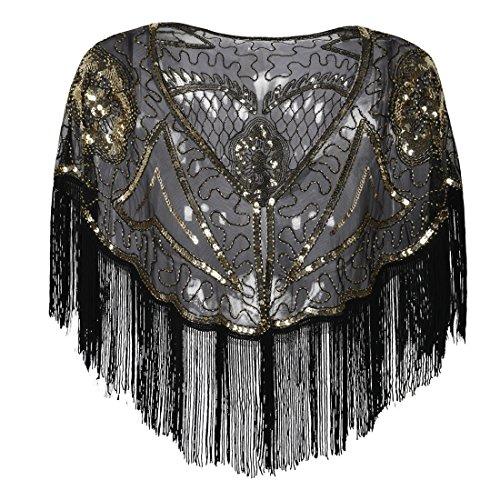- PrettyGuide Women's Gatsby Cape Sequin Fringed Bolero 1920s Flapper Shawl Gold