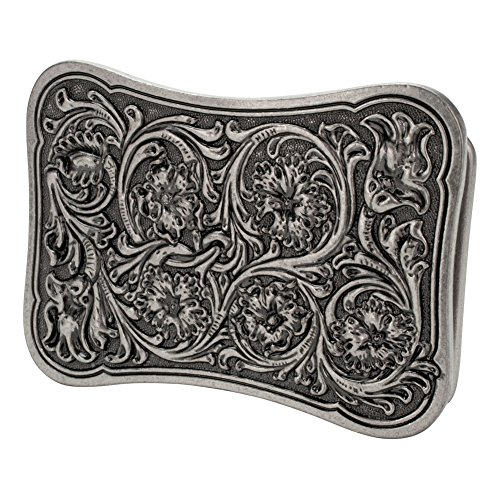 Buckle Rage Curved Rectangular Women's Floral Flower Swirl Belt Buckle Silver