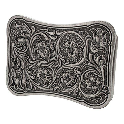 Silver Floral Belt (Buckle Rage Curved Rectangular Women's Floral Flower Swirl Belt Buckle)