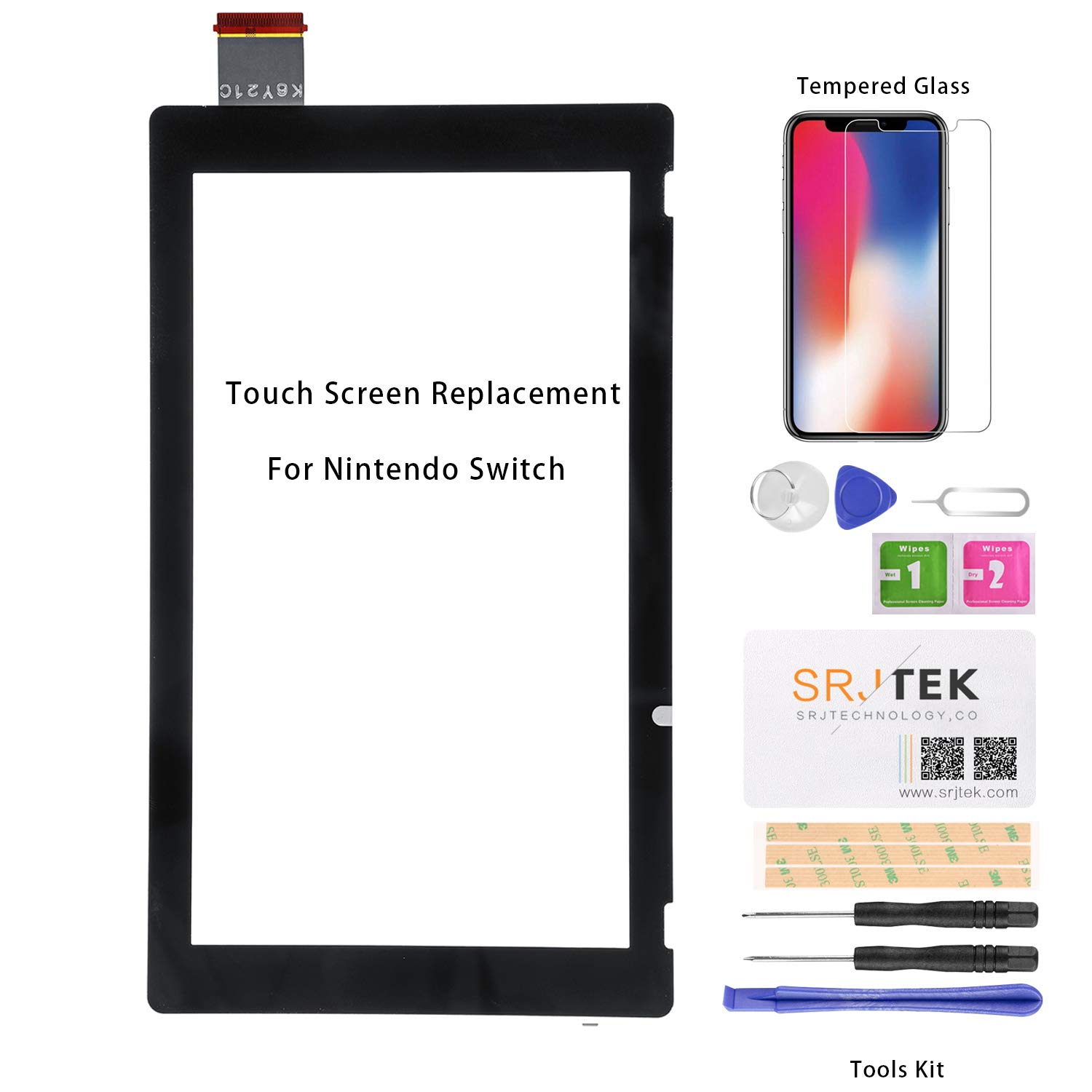 For Nintendo Switch Screen Replacement Touch Digitizer Glass Panel Touchscreen Sensor Repair Parts Kit,Include Opening Tools,Tempered Glass