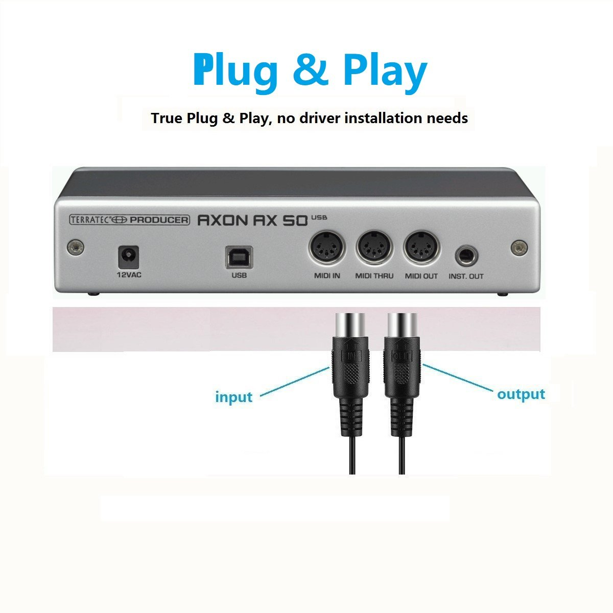 USB IN-OUT MIDI Cable Converter, LiDiVi Professional Piano Keyboard to  PC/Laptop/Mac MIDI Adapter Cord for Home Music Studio - 6 5Ft