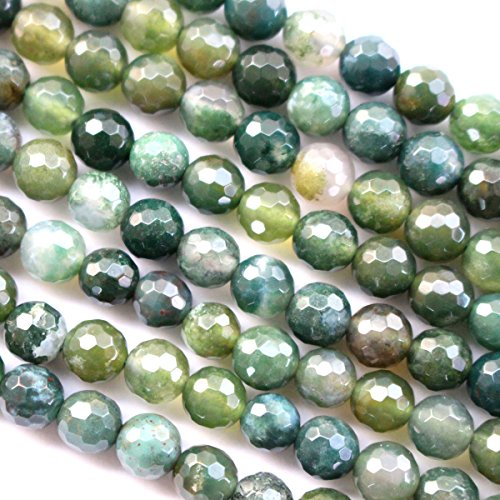 Faceted Natural Moss Agate Round Gemston - Faceted Natural Agate Shopping Results