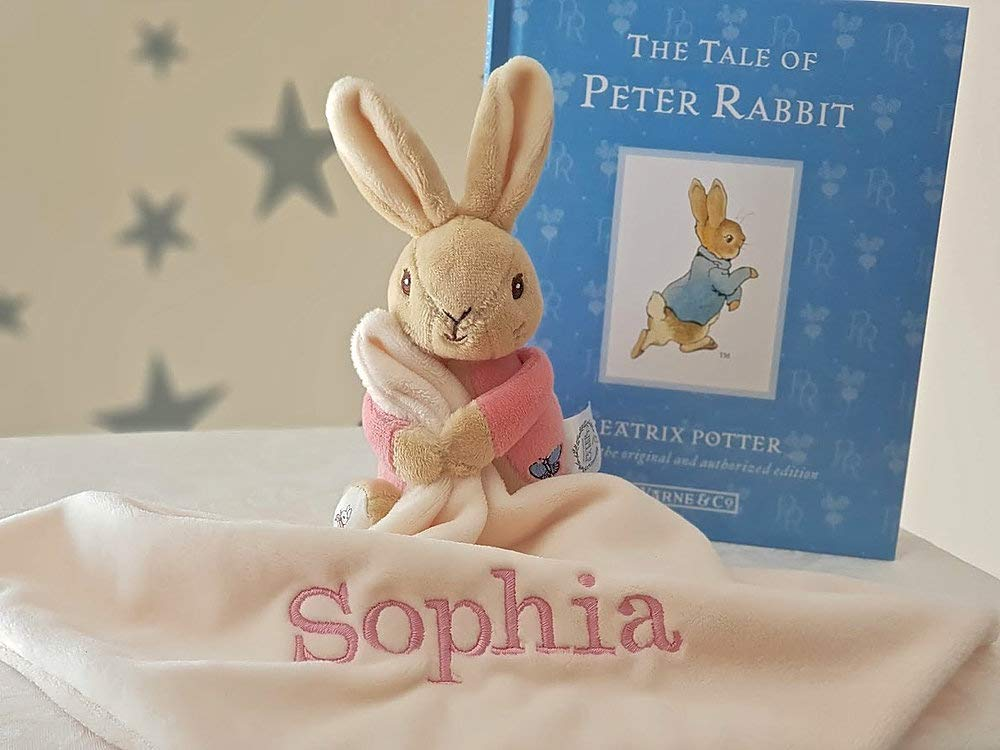 FLOPSY Personalised Comforter Baby Blanket / Keepsake Baby Girl Blanket / Minky Blanket / Beatrix Peter Rabbit / Rattle Soft Toys