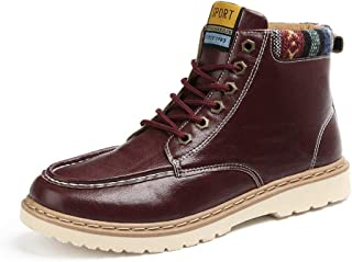 Juqilu Scarpe da Ginnastica Invernale per Uomo - Warm Sneaker Flat Trainers Stivaletti in Chiusura in Pelle Stringate Scarpe Sportive Retro EU39-44