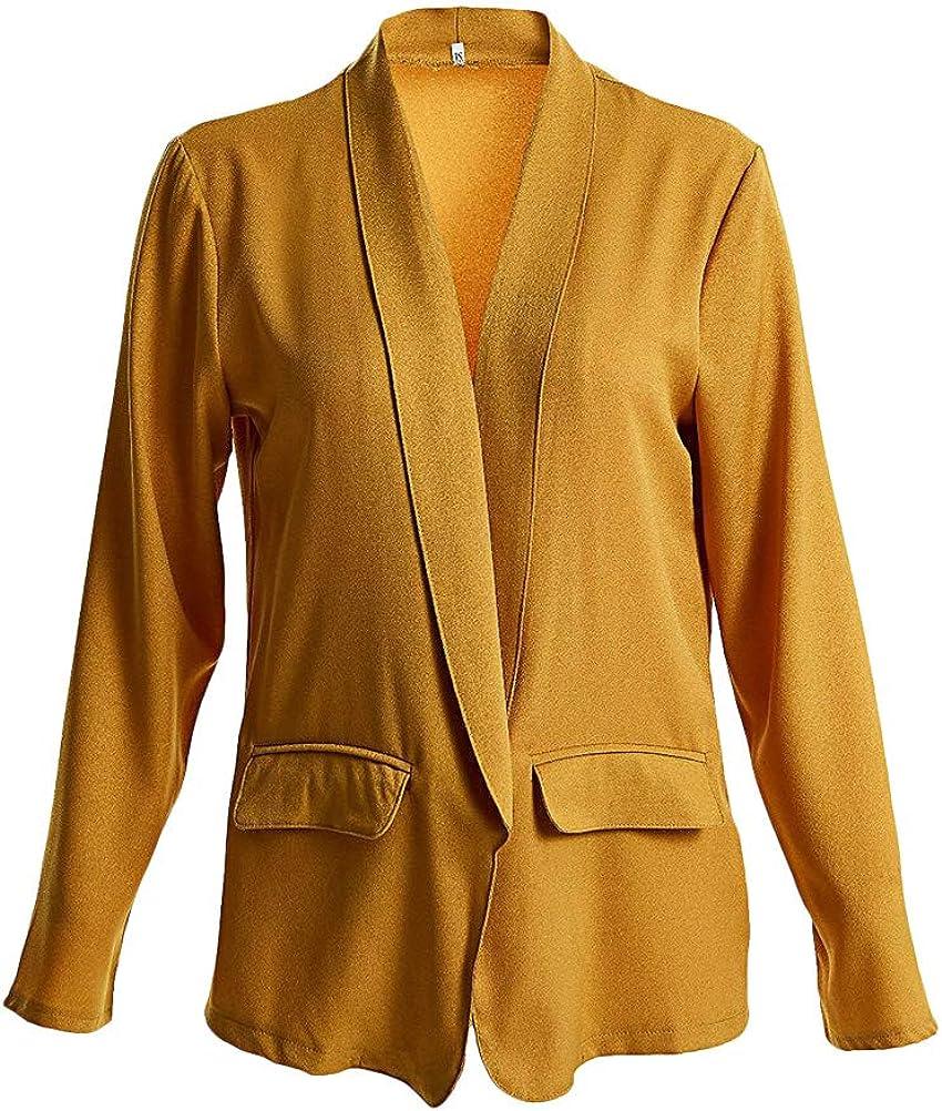 Minetow Damen Elegante Langarm Blazer Sakko Einfarbig Slim Fit Vorne Offnung Tasche Geschäft Büro Jacke OL Mantel Anzüge Bolero