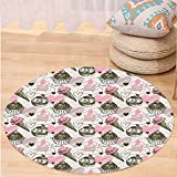 VROSELV Custom carpetIce Cream Decor Cupcakes with Murky Heart Love Romance Illustration for Bedroom Living Room Dorm Dust Light Pink Army Green Round 79 inches