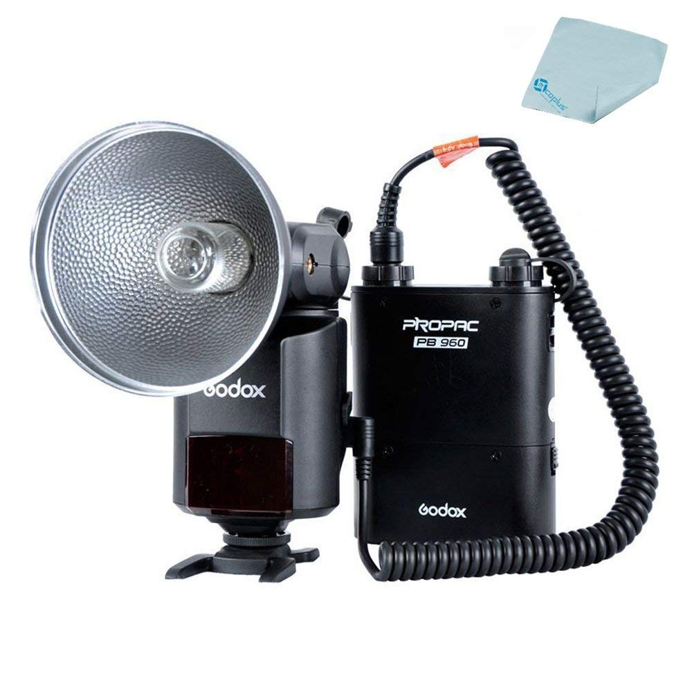 Godox AD-360 StreakLight 360 Watt-Seconds Flash Speedlite + PB960 Battery Power Pack Black +Mcoplus Cloth by mcoplus