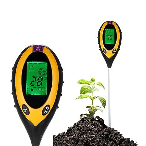 4-in-1 Soil Tester Moisture Meter PH Levels Temperature Sunlight Lux Intensity Survey Instrument LCD Display for Garden Farm Lawn Indoor Outdoor Plant Flower