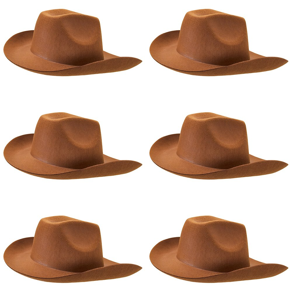 6-Pack Cowboy Hat Halloween Accessory - Dress Up Theme Party Roleplay & Cosplay Headwear by Unknown