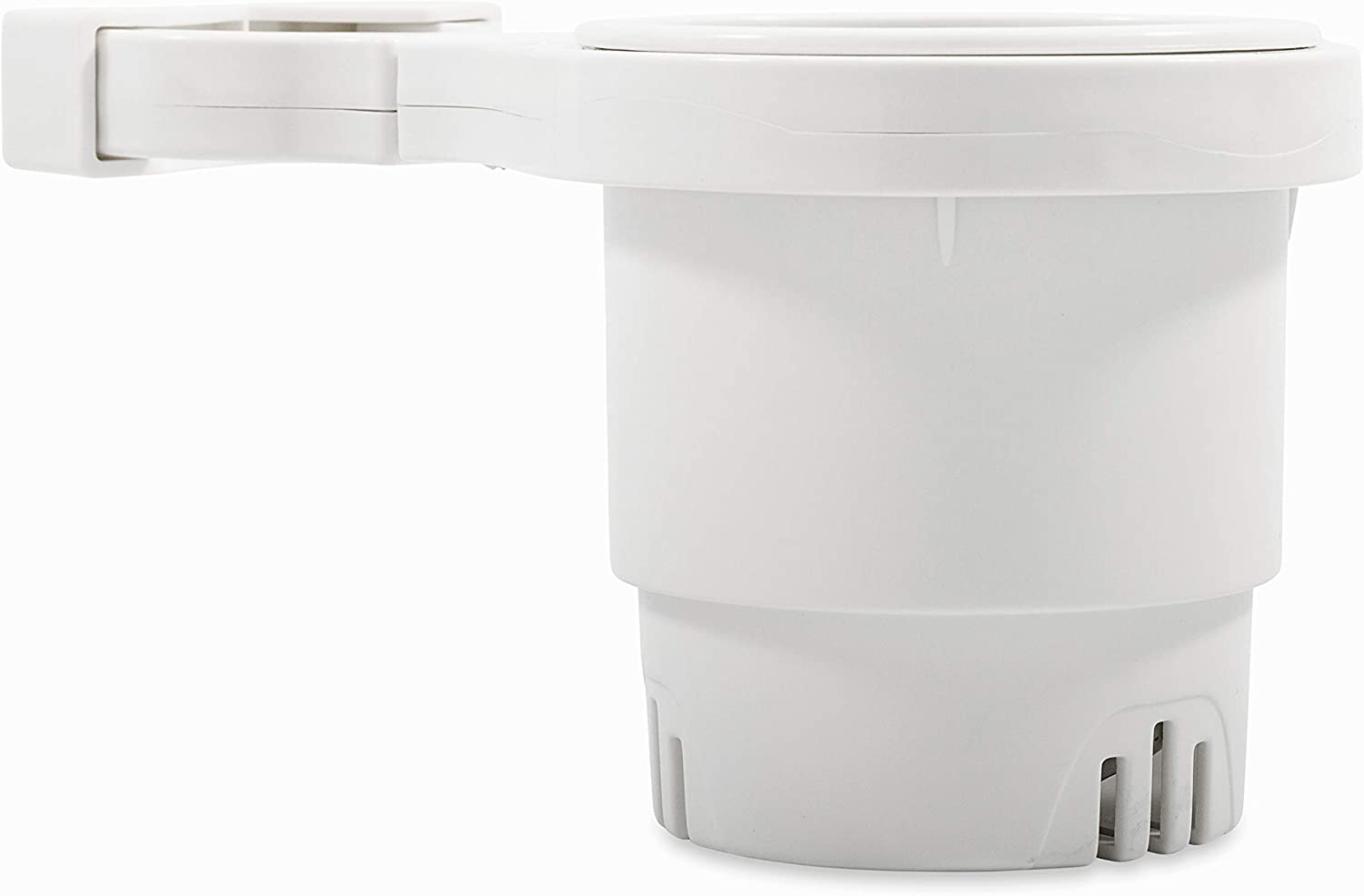 Camco Large Clamp Mounted Cup Holder-Provides a Secure Location for Your Beverage-Mountable for Up to 2-Inch Rail-White (53083)
