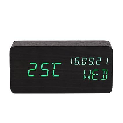 Comercio escritorio LED de madera Alarma Reloj muestra la ...