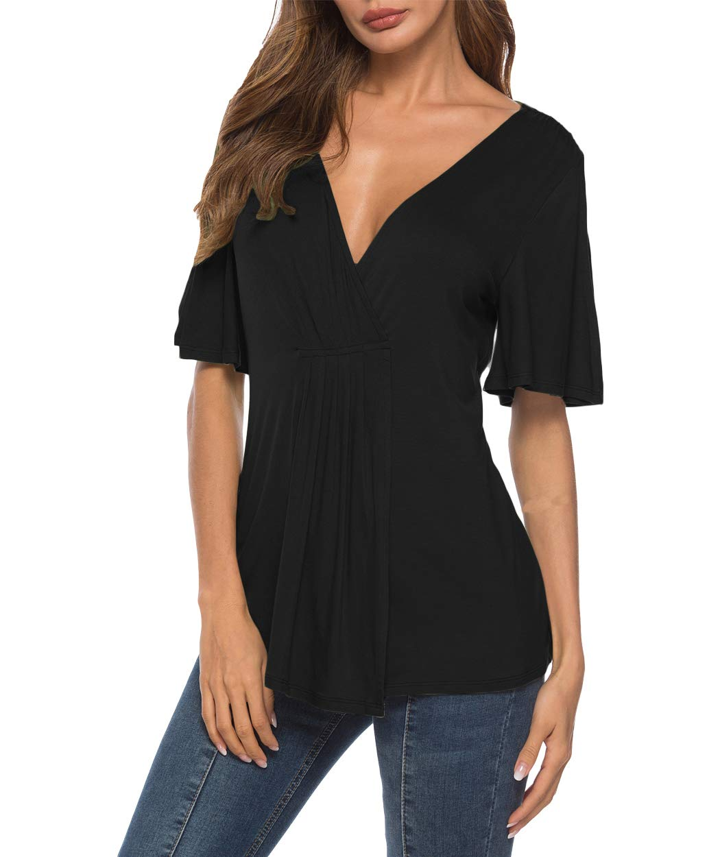 Eanklosco V Neck Shirts Womens Sexy Short Sleeve Cold Shoulder Tops Unique Ruffle Front Side Slit T Shirts (M, Black)