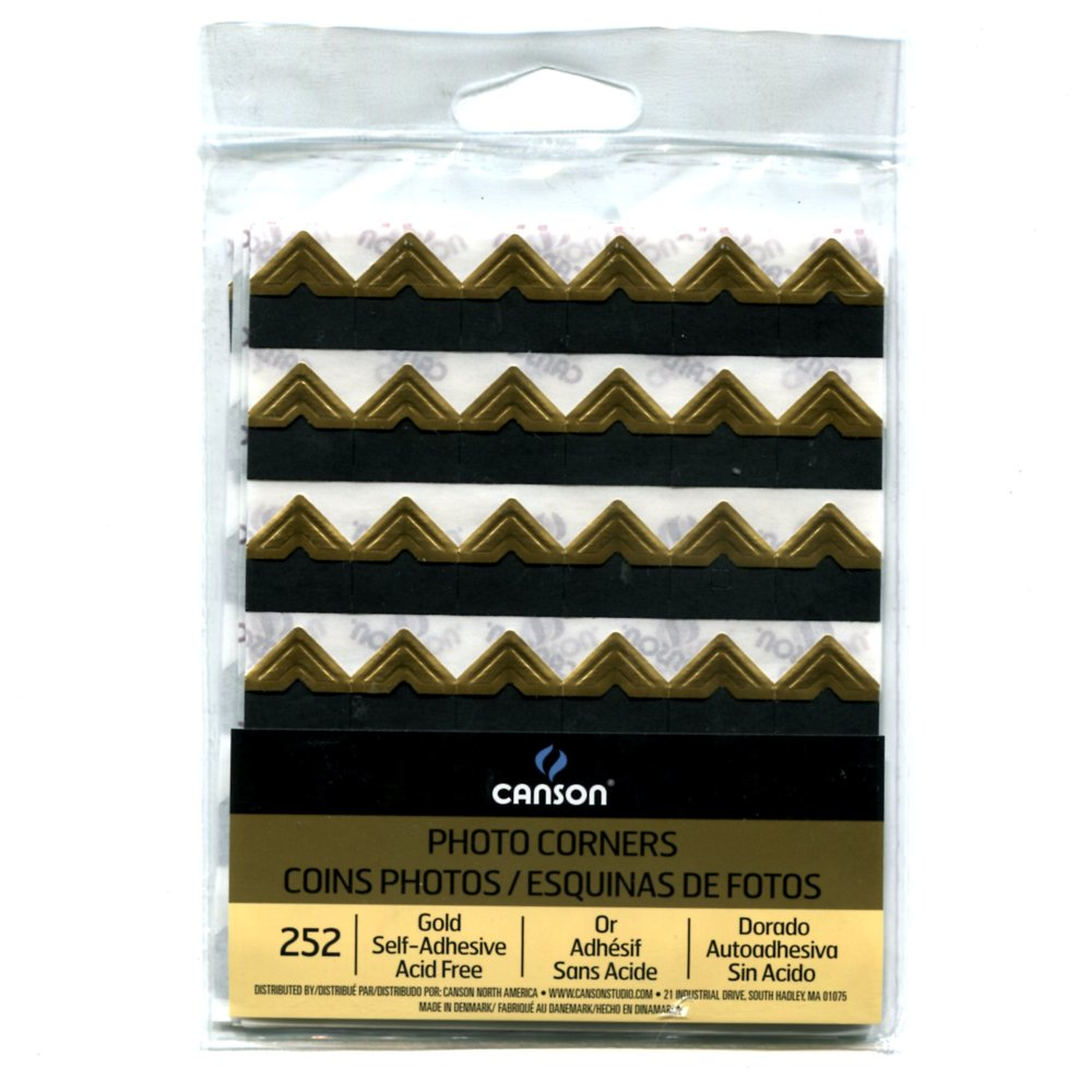 2-Pack Bundle - Canson Self Adhesive Photo Corners, Peel-Off Archival Quality, Black, 252 count each Pack Canson Inc