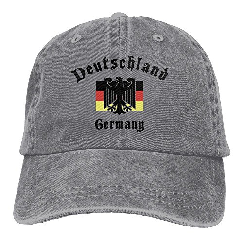 E-Isabel Deutschland Germany Flag Adjustable Ball Cotton Washed Denim Caps Hats Ash (Designer Online Shop Deutschland)