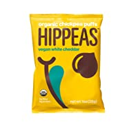 HIPPEAS Organic Chickpea Puffs + Vegan White Cheddar | 1 ounce, 24 count | Vegan, Gluten-Free, Crunchy, Protein Snacks