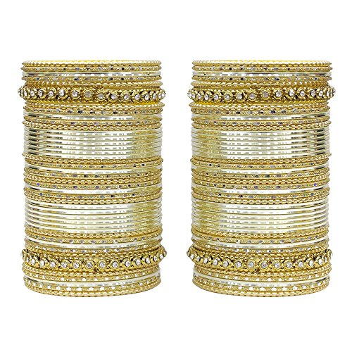 MUCH-MORE 86 Bangles Set of Multi Colour Amazing Collection of Bangles Set for Womens (Cream, 2.6) ()