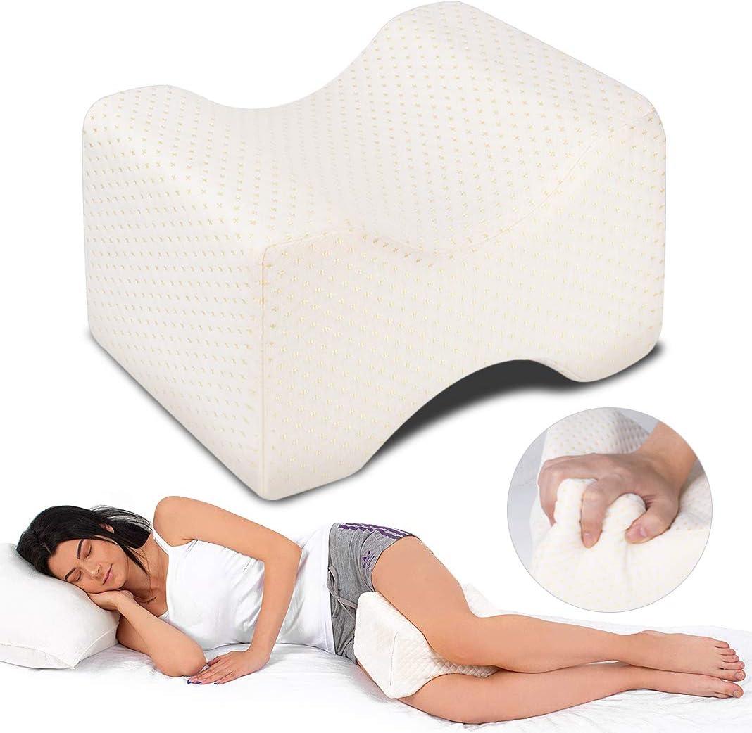 Almohadas para piernas para dormir, Dioxide Cojín ortopédico para almohada con de memoria, Alivia el Dolor de Espalda, Cadera y Articulaciones, Soporte para el Tobillo y la Rodilla