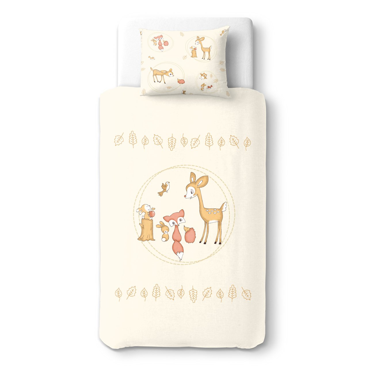 Baby Deer & Friends Party - SoulBedroom 100% Cotton Bed Set (Duvet Cover 39''x 55'' cm & Pillow Case 15''x 23'' cm)