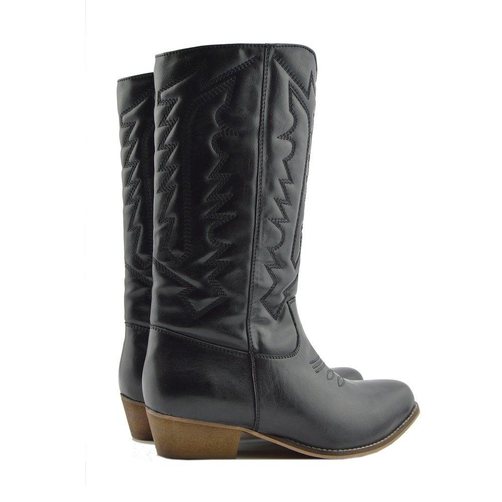 ebf27fc688461a ... Damen Frauen Mid-Calf-Block-Ferse Reiten Cowboy Biker Boots Zip Ups  Schuhe ...