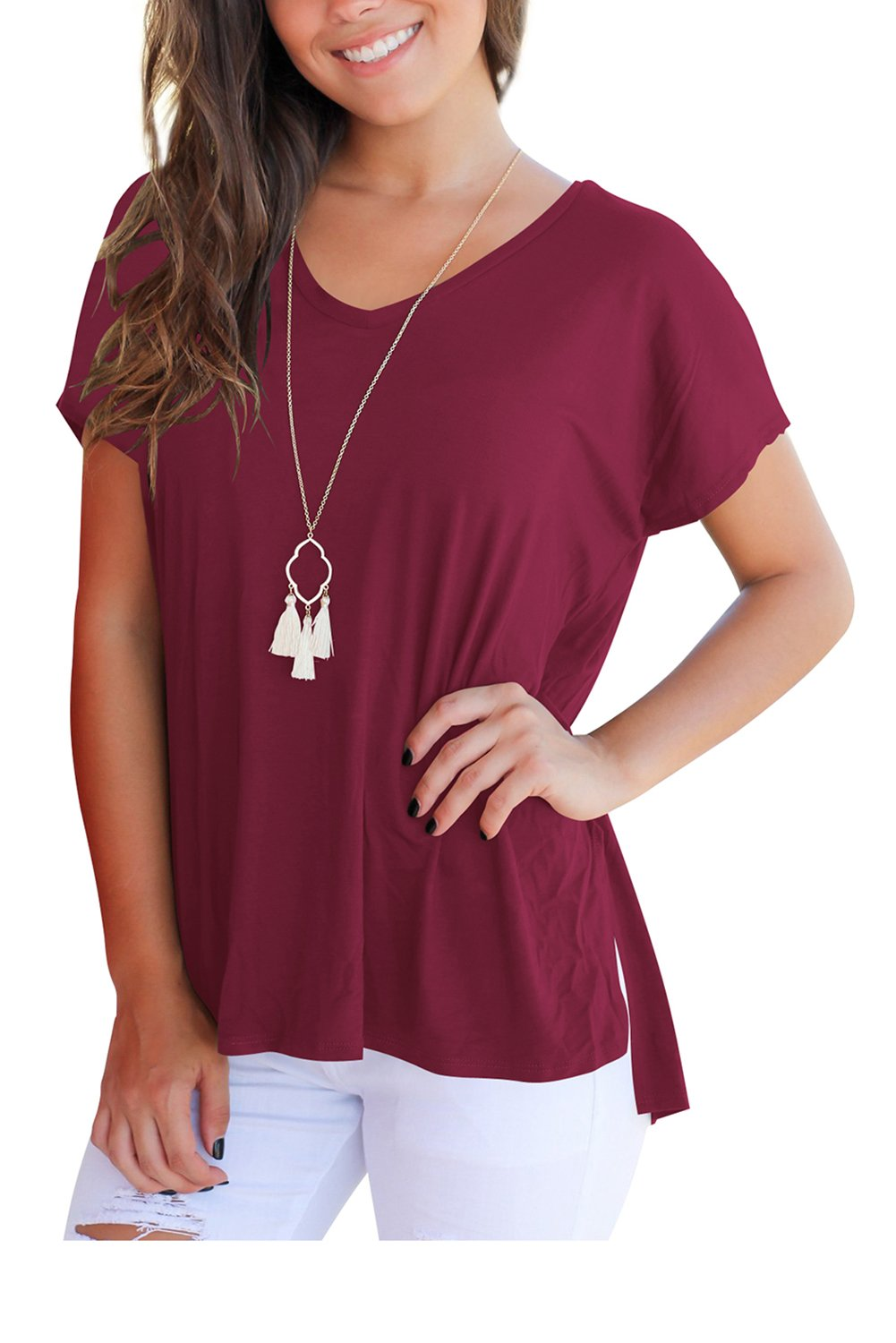 FAVALIVE Women Tees and Tops Short Sleeve V Neck Tunic T Shirts Plain Wind Red XL by FAVALIVE (Image #2)