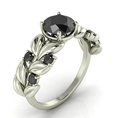 New 3 55ct Round All Black Diamond Lotus Leaf Design Engagement Ring