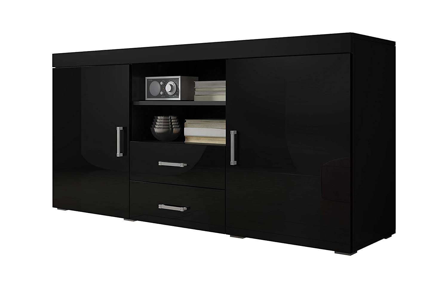 Sideboard Cupboard Buffet Mambo 164cm 2 Doors 2 Drawers Body Matte Black/Front Gloss Black E-Com International B.V.