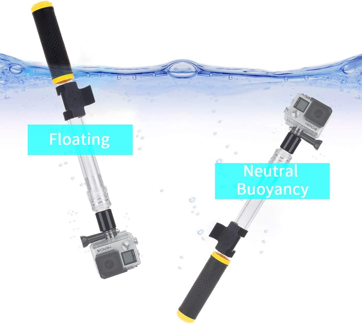 Extendable Monopod Selfie Stick 14-24 with Mount Clip for GoPro Hero 6//5//4//3 AKASO YI 4K Action Camera Gopro Extension Pole Waterproof Telescopic Pole Number-One Transparent Floating Hand Grip