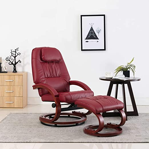 YiYueTrade Fauteuil inclinable avec Repose Pied Rouge