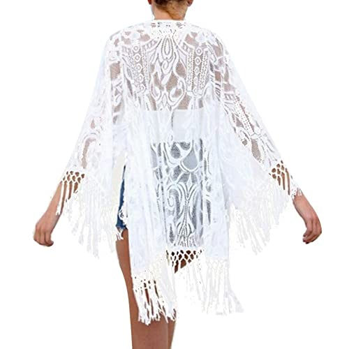 Mujeres Pareo Juleya Bikini Cover Up Ropa de Playa Bañador Beach Swimsuit Cover-ups Blanco/Beige S-XXL