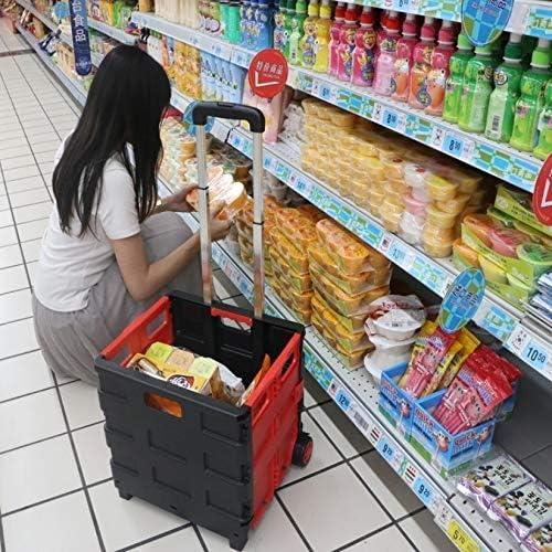 JH Kofferraum Organizer Auto Organizer Auto zubehör Tragbarer Home Shopping Folding Old Man Shopping Supermarkt Trolley (Color : Red)
