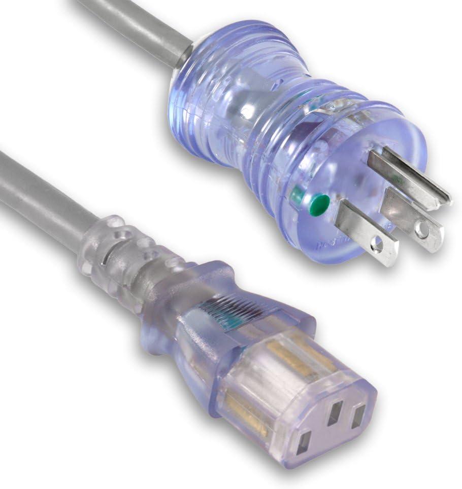 10FT 16 Gauge 3 Prong NEMA 5-15P to IEC320 C13 Power Cord Cable Hospital Grade