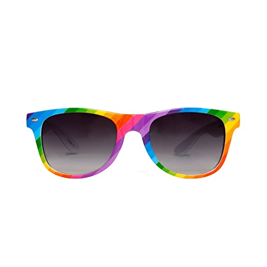 c6345cc9ce3 Amazon.com  Gravity Shades Rainbow Color Horn-Rim Sunglass  Clothing