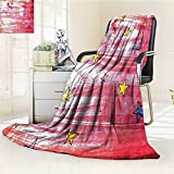 YOYI-HOME Duplex Printed Blanket Comfort Warmth SoftStars Over Grunge Retro Style Background Solar Celestial Theme Art Red Blue Yellow Anti-Static,2 Ply Thick,Hypoallergenic/W47 x H79