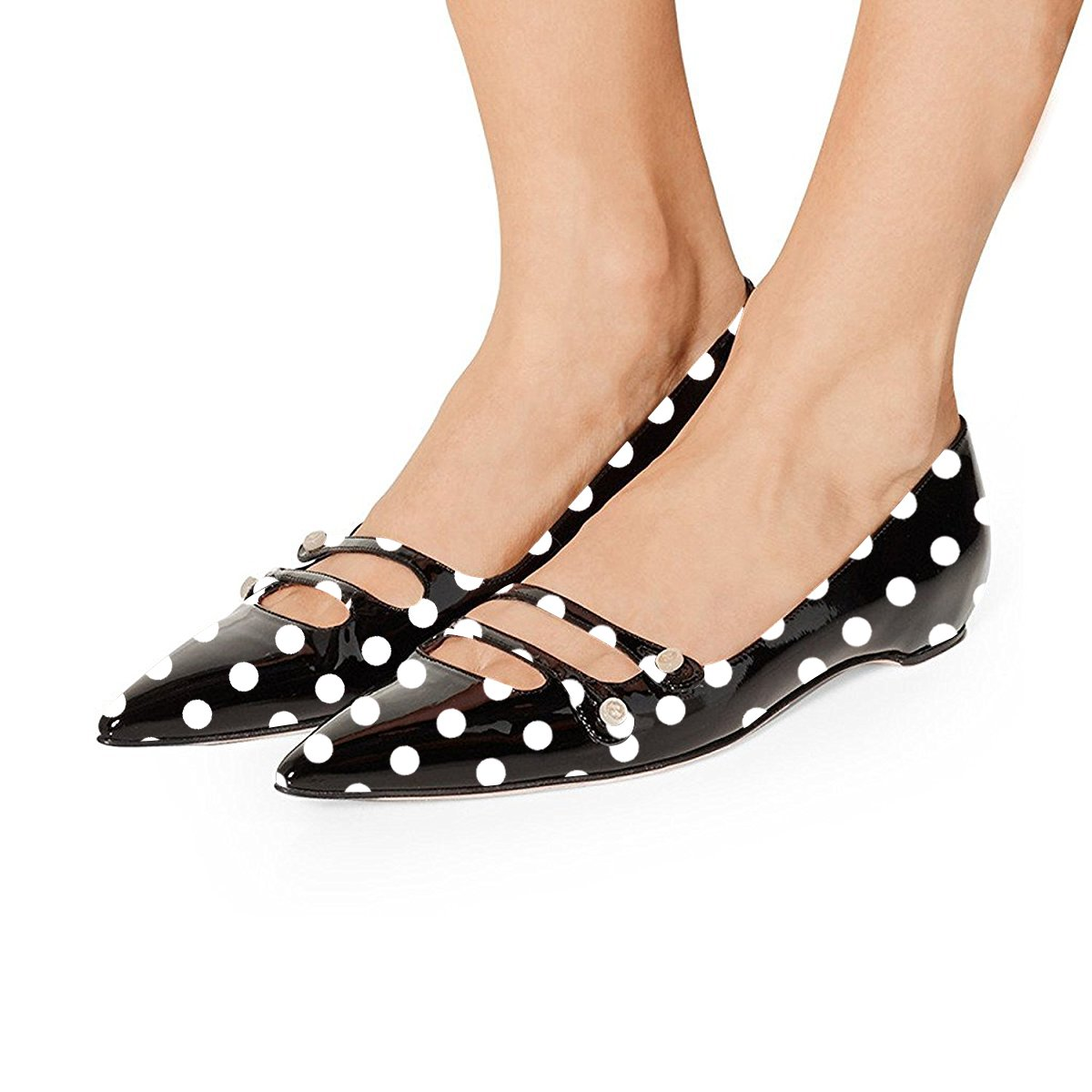 YDN Women Pointed Toe Slip on Flats Hidden Low Heels Pumps Comfort Shoes with Straps B07DKYNH69 9.5 M US|Black Polka Dot