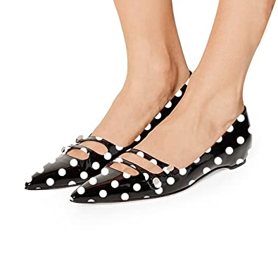 5f3492adec9f3 YDN Women Pointed Toe Slip on Flats Hidden Low Heels Pumps Comfort Shoes  with Straps Black