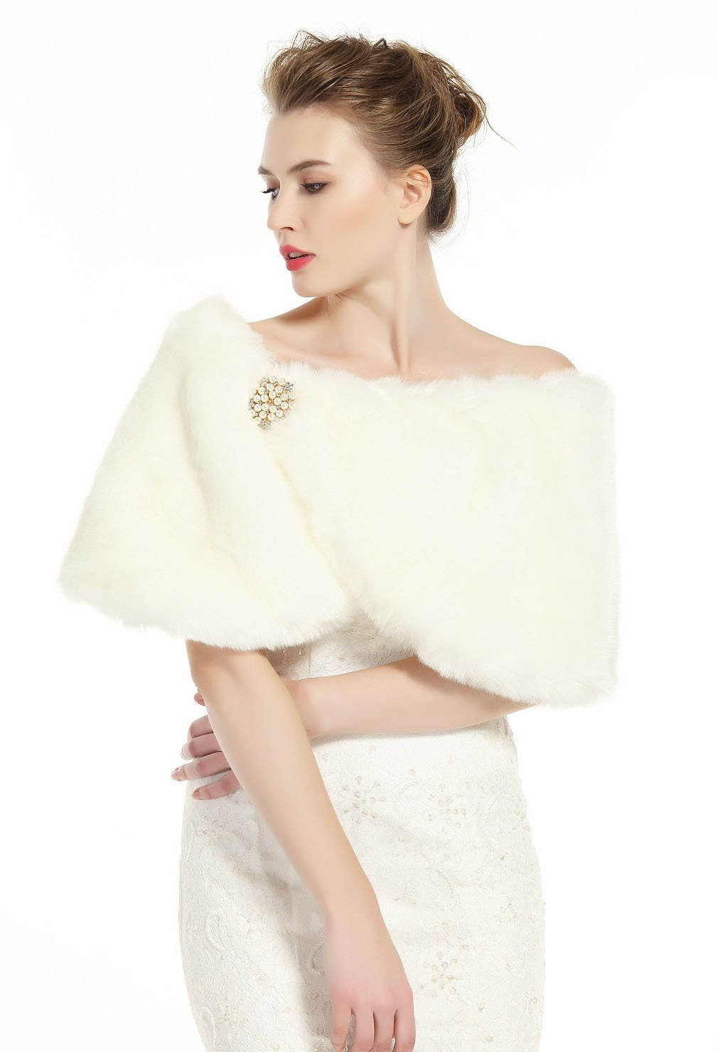 Faux Fur Wrap Shawl Women's Shrug Bridal Stole for Winter Wedding Party Free Brooch Ivory by BEAUTELICATE (Image #2)