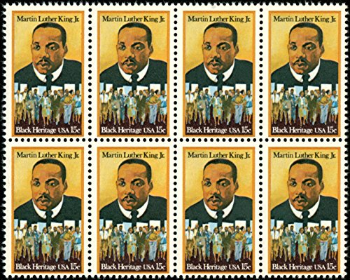 Martin Luther King Stamp (Martin Luther King Jr - Black History - #1771 - Block of 8 x 15¢ postage stamps)