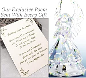 Sympathy Gifts for Children On Angels Wings Sending You an Angel Statue LED Acrylic Unique Remembrance for Funeral Or Memorial Comfort The Grieving for Loss of A Loved One