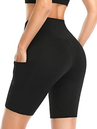 """Safort Women's 8"""" 5"""" High Waist Yoga Shorts with 4 Pockets Workout Running Compression Tights Sports"""