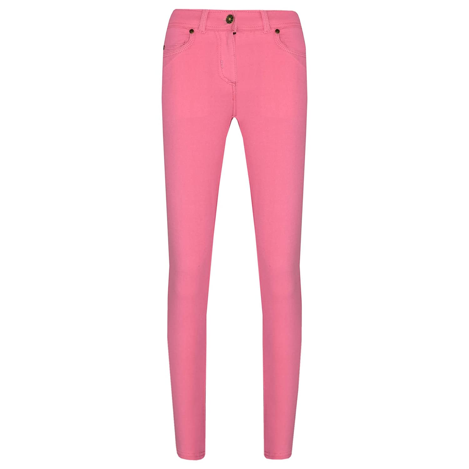 A2Z 4 Kids Girls Skinny Jeans Kids Stretchy Jeggings Denim Fit Pants - Girls Jeggings 061 Pink 7-8