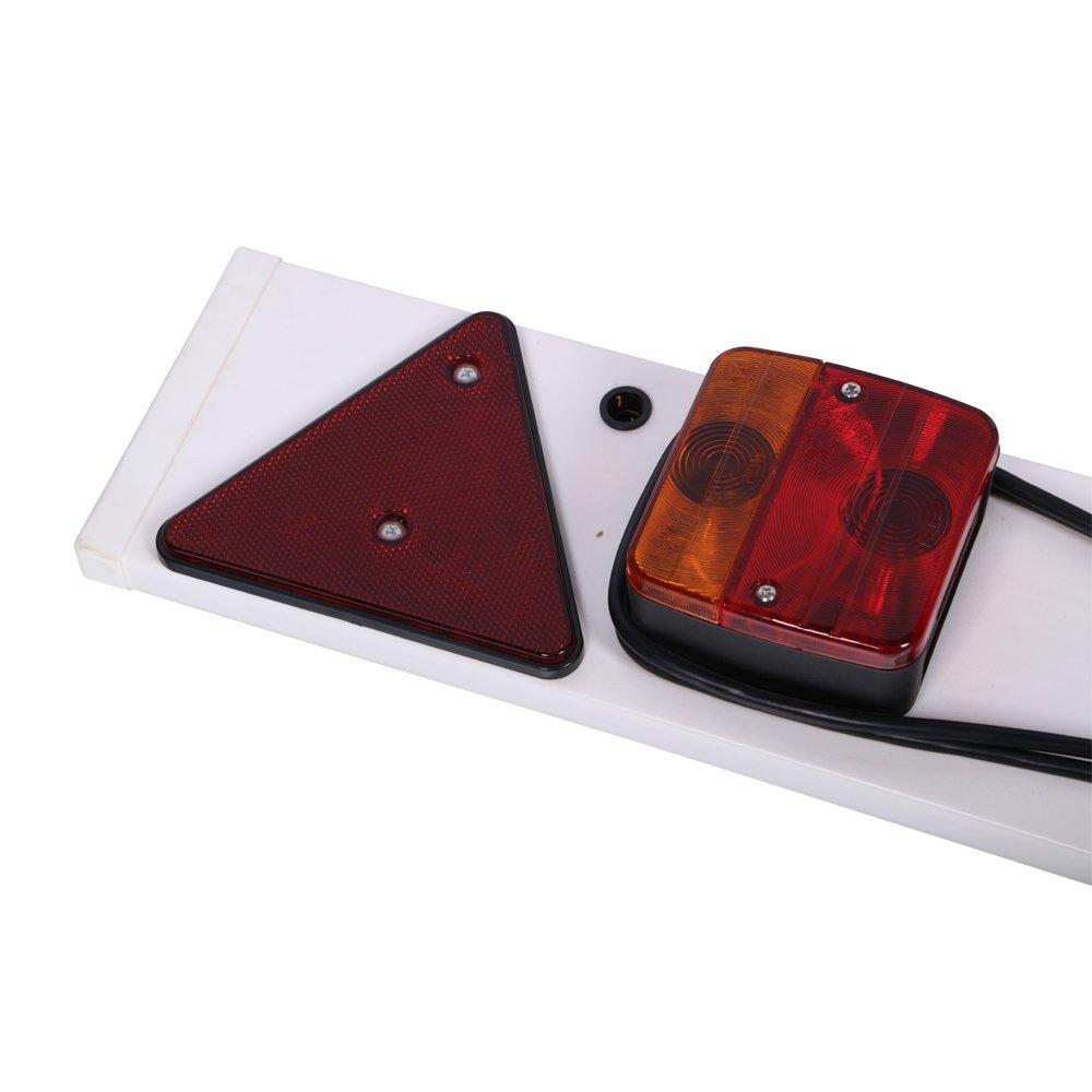 barco 5 luces traseras cami/ón Kit de luces LED de 12 V para remolque con placa de PVC 2 luces de combinaci/ón de luces traseras para remolque